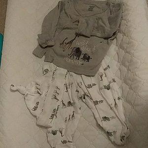 3 piece set, kimono top, hat, footed pants